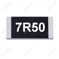 Резистор SMD 7.5 Ом, 1206, 1%, 0.25Вт, (7R5)
